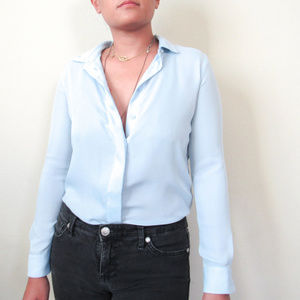 H&M Silky Button Up Blouse Powder Blue Baby Blue